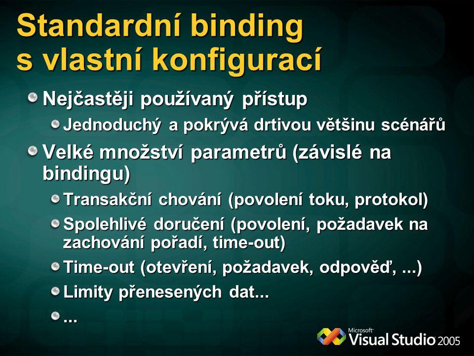 Standardní binding s vlastní konfigurací Nejčastěji používaný přístup Jednoduchý a pokrývá drtivou většinu scénářů Velké množství parametrů (závislé n