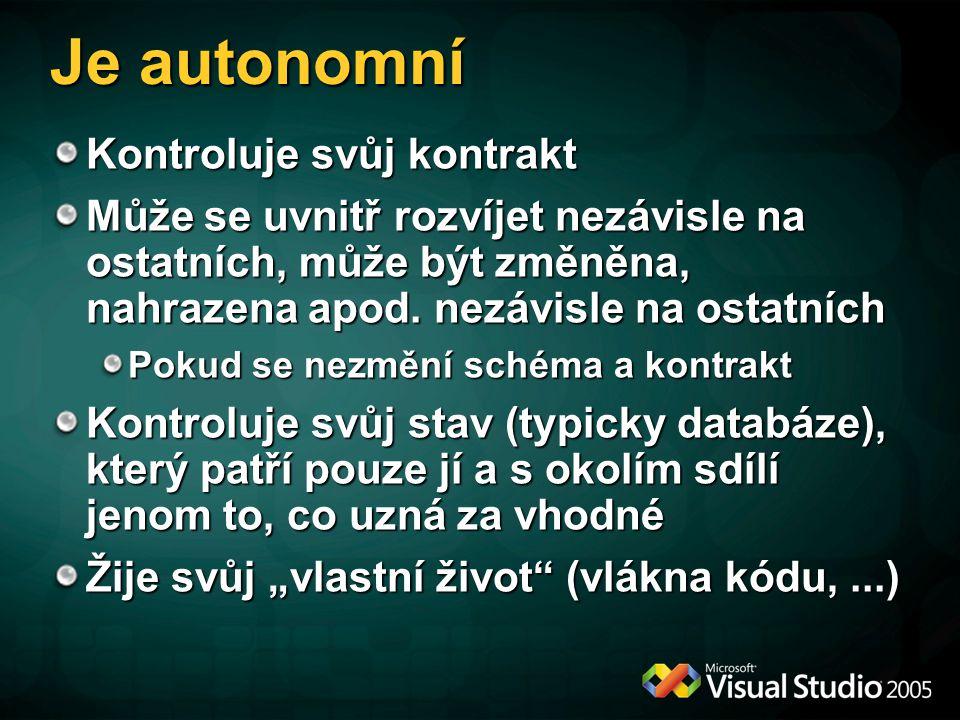 Je autonomní Kontroluje svůj kontrakt Může se uvnitř rozvíjet nezávisle na ostatních, může být změněna, nahrazena apod. nezávisle na ostatních Pokud s