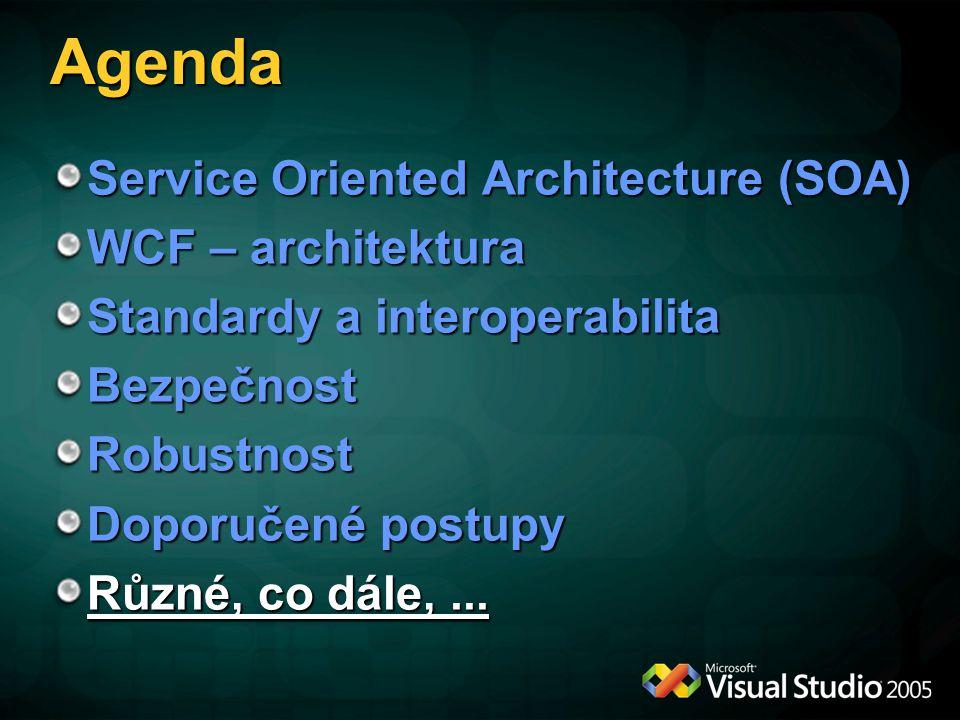 Další směry rozvoje WCF Další typy protokolů: SQL Service Broker SMTP POX (Plain Old XML) – XML přes HTTP GET, např.