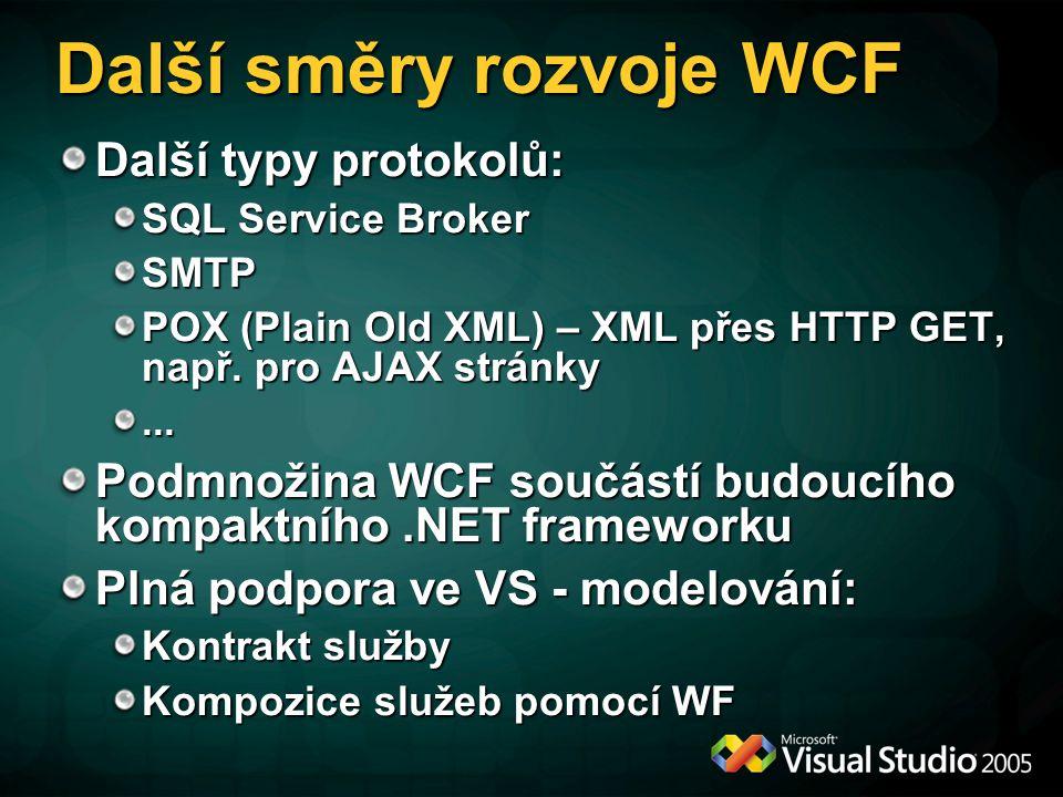 Adapter Framework (AF) Runtime pro zpřístupnění externích systémů na bázi WCF bindingu AF se stará o komunikaci a standardně zpřístupňuje metadata Externí systémy se po formální stránce stávají WCF službami, které lze přidat do projektu (bez nutnosti psát wrapper) Využití: BizTalk Server 2006 Release 2 Další budoucí produkty – SQL Server Integration Services, ADO.NET, MIIS,...