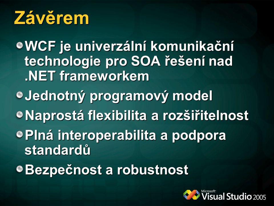 Závěrem WCF je univerzální komunikační technologie pro SOA řešení nad.NET frameworkem Jednotný programový model Naprostá flexibilita a rozšiřitelnost