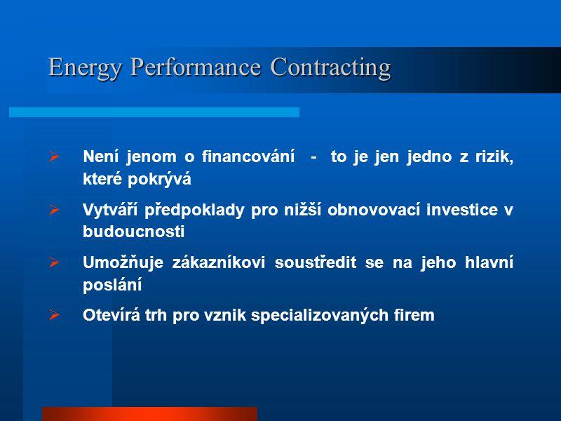 Aktéři Energy Performance Contracting  Úvodní zjištění možností úspor  Vyjádření souhlasu a zájmu o úspory  Příprava podkladů pro veřejné zakázky  Výběr uchazeče, uzavření smlouvy  Příprava a organizace projektu, instalace, provoz, údržba, opravy  Sledování a vyhodnocování výsledků  Auditoři  Poradenské firmy  ESCo  Zřizovatelé  Zřizovatel  Poradenské firmy  Zřizovatel  Poradenské firmy  ESCo  Montážní a dodavatelské firmy  ESCo  Zřizovatel  Poradenské firmy