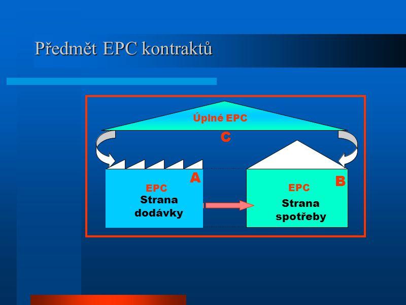 Obsah EPC kontraktů  Energetický audit a návrh úsporných opatření  Příprava projektu a jeho financování  Realizace navržených opatření (projekt, výstavba, uvedení do provozu)  Dlouhodobé záruky na provoz a účinnost zařízení (úspory) –Provoz a údržba (školení) –Sledování a vyhodnocování spotřeby energie EPC je komplexní služba