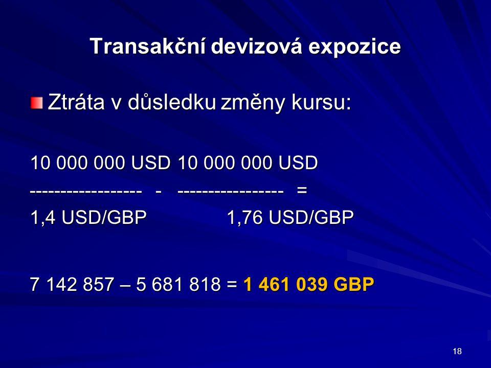 Transakční devizová expozice Ztráta v důsledku změny kursu: 10 000 000 USD10 000 000 USD ------------------ - ----------------- = 1,4 USD/GBP 1,76 USD/GBP 7 142 857 – 5 681 818 = 1 461 039 GBP 18