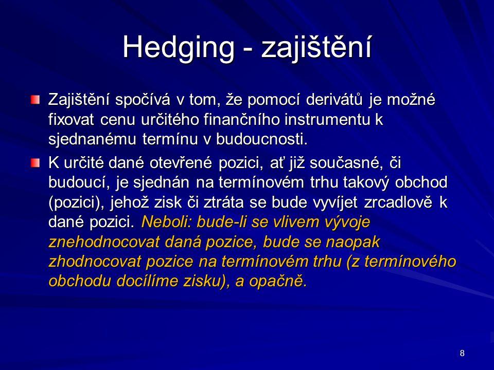 Hedging - zajištění Zajištění spočívá v tom, že pomocí derivátů je možné fixovat cenu určitého finančního instrumentu k sjednanému termínu v budoucnosti.