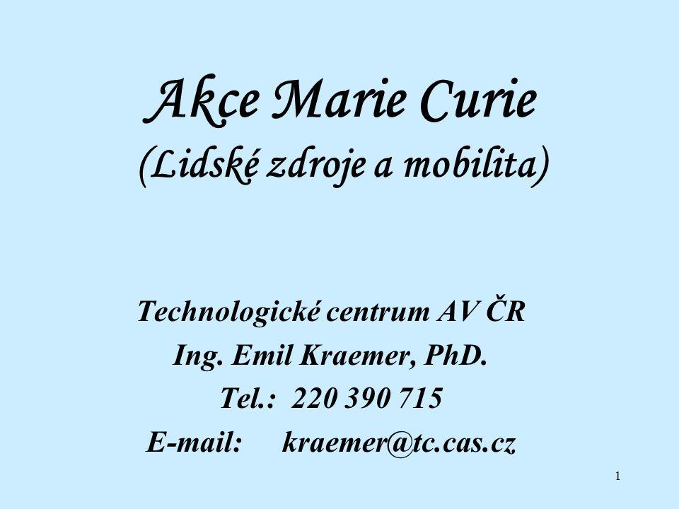 2 Akce Marie Curie 1.Školicí místa 1.1 Výzkumné školicí sítě 1.2 Školicí místa pro začínající vědecké pracovníky 1.3 Školicí místa pro přenos znalostí 1.4 Konference a vzdělávací kurzy 2.Individuální stáže 2.1 Evropské stáže pro evropské vědecké pracovníky 2.2 Stáže ve třetích zemích pro evropské vědecké pracovníky 2.3 Evropské stáže pro vědecké pracovníky ze třetích zemí 3.Podpora a ocenění vynikající vědecké práce 3.1 Granty pro vynikající vědecké týmy 3.2 Ceny pro vynikající vědecké pracovníky 3.3 Profesury 4.Reintegrační návratové granty 4.1 Evropské reintegrační granty 4.2 Mezinárodní reintegrační granty