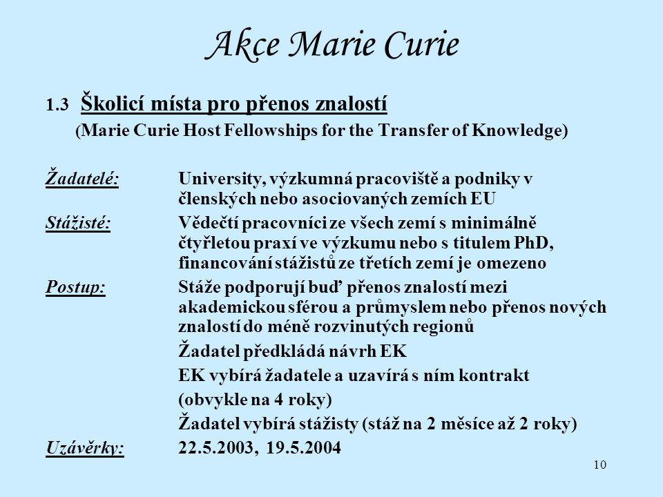 10 Akce Marie Curie 1.3 Školicí místa pro přenos znalostí ( Marie Curie Host Fellowships for the Transfer of Knowledge) Žadatelé:University, výzkumná pracoviště a podniky v členských nebo asociovaných zemích EU Stážisté:Vědečtí pracovníci ze všech zemí s minimálně čtyřletou praxí ve výzkumu nebo s titulem PhD, financování stážistů ze třetích zemí je omezeno Postup:Stáže podporují buď přenos znalostí mezi akademickou sférou a průmyslem nebo přenos nových znalostí do méně rozvinutých regionů Žadatel předkládá návrh EK EK vybírá žadatele a uzavírá s ním kontrakt (obvykle na 4 roky) Žadatel vybírá stážisty (stáž na 2 měsíce až 2 roky) Uzávěrky:22.5.2003, 19.5.2004