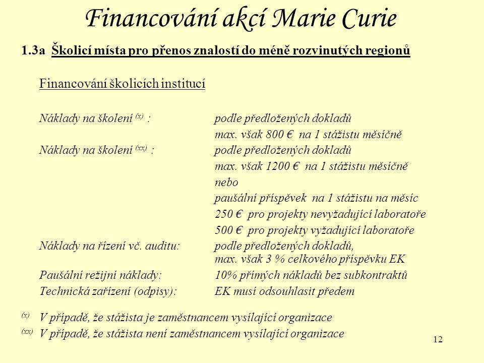 12 Financování akcí Marie Curie 1.3a Školicí místa pro přenos znalostí do méně rozvinutých regionů Financování školicích institucí Náklady na školení (x) :podle předložených dokladů max.