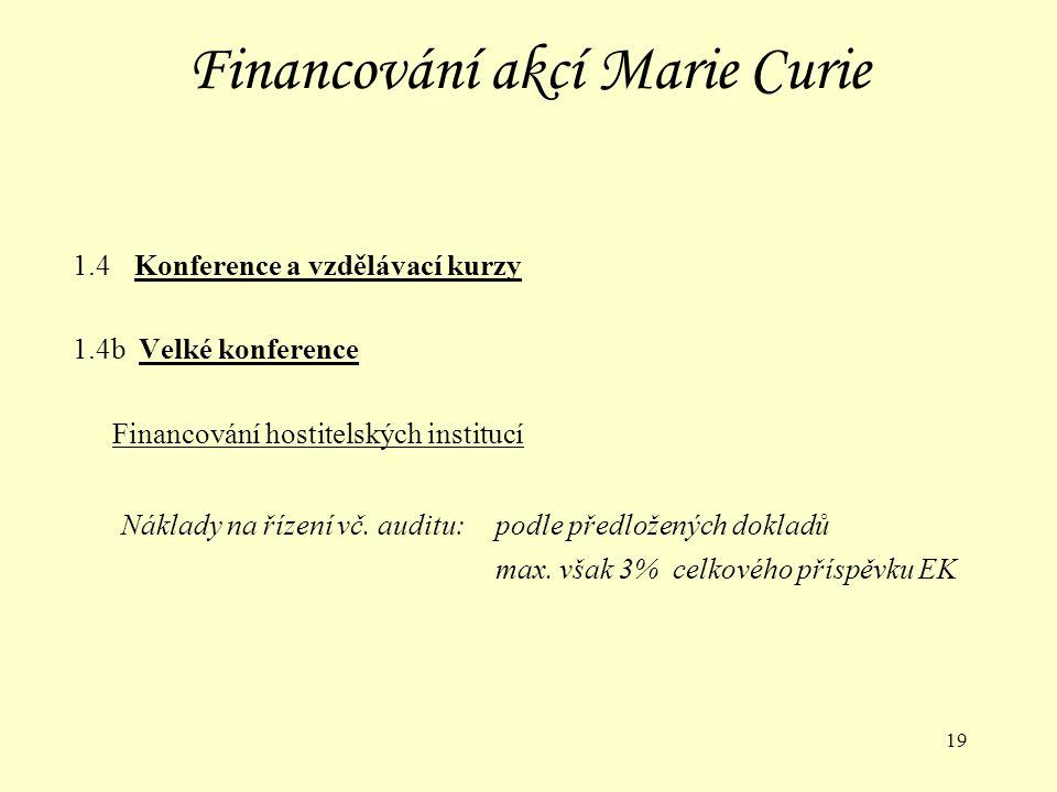 19 Financování akcí Marie Curie 1.4 Konference a vzdělávací kurzy 1.4b Velké konference Financování hostitelských institucí Náklady na řízení vč.