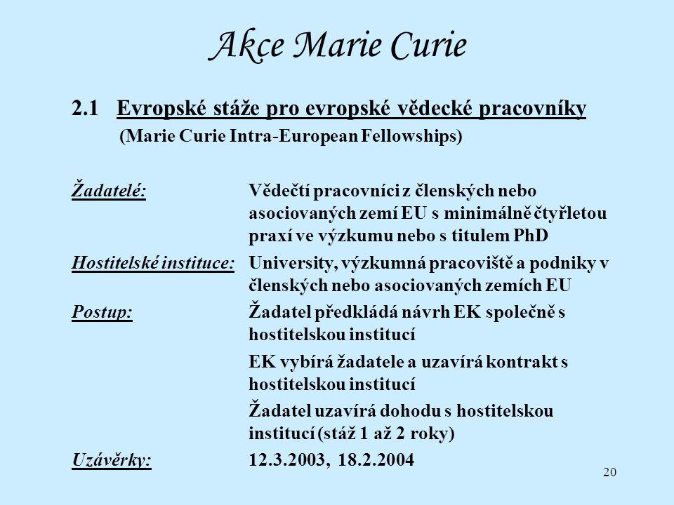 20 Akce Marie Curie 2.1 Evropské stáže pro evropské vědecké pracovníky (Marie Curie Intra-European Fellowships) Žadatelé:Vědečtí pracovníci z členských nebo asociovaných zemí EU s minimálně čtyřletou praxí ve výzkumu nebo s titulem PhD Hostitelské instituce:University, výzkumná pracoviště a podniky v členských nebo asociovaných zemích EU Postup:Žadatel předkládá návrh EK společně s hostitelskou institucí EK vybírá žadatele a uzavírá kontrakt s hostitelskou institucí Žadatel uzavírá dohodu s hostitelskou institucí (stáž 1 až 2 roky) Uzávěrky:12.3.2003, 18.2.2004