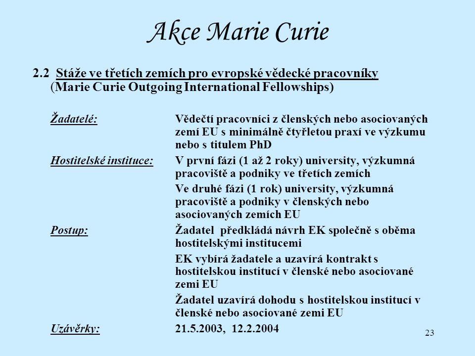 23 Akce Marie Curie 2.2 Stáže ve třetích zemích pro evropské vědecké pracovníky (Marie Curie Outgoing International Fellowships) Žadatelé:Vědečtí pracovníci z členských nebo asociovaných zemí EU s minimálně čtyřletou praxí ve výzkumu nebo s titulem PhD Hostitelské instituce:V první fázi (1 až 2 roky) university, výzkumná pracoviště a podniky ve třetích zemích Ve druhé fázi (1 rok) university, výzkumná pracoviště a podniky v členských nebo asociovaných zemích EU Postup:Žadatel předkládá návrh EK společně s oběma hostitelskými institucemi EK vybírá žadatele a uzavírá kontrakt s hostitelskou institucí v členské nebo asociované zemi EU Žadatel uzavírá dohodu s hostitelskou institucí v členské nebo asociované zemi EU Uzávěrky:21.5.2003, 12.2.2004