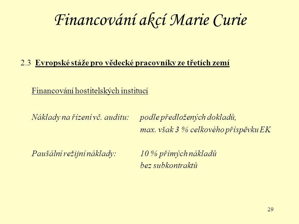 29 Financování akcí Marie Curie 2.3 Evropské stáže pro vědecké pracovníky ze třetích zemí Financování hostitelských institucí Náklady na řízení vč.
