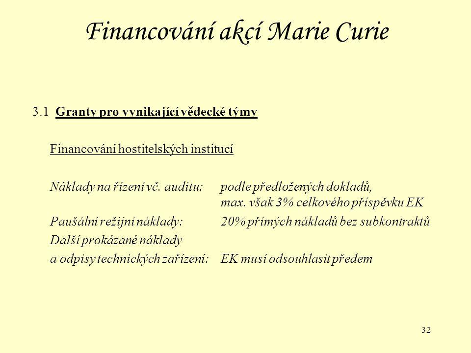 32 Financování akcí Marie Curie 3.1 Granty pro vynikající vědecké týmy Financování hostitelských institucí Náklady na řízení vč.