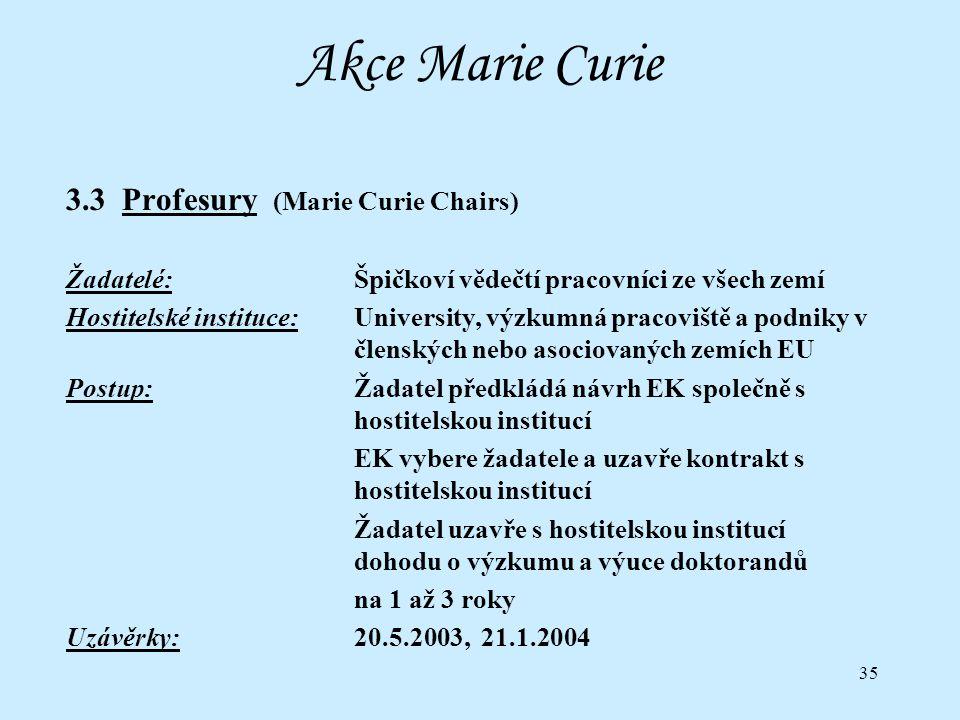 35 Akce Marie Curie 3.3 Profesury (Marie Curie Chairs) Žadatelé:Špičkoví vědečtí pracovníci ze všech zemí Hostitelské instituce:University, výzkumná pracoviště a podniky v členských nebo asociovaných zemích EU Postup:Žadatel předkládá návrh EK společně s hostitelskou institucí EK vybere žadatele a uzavře kontrakt s hostitelskou institucí Žadatel uzavře s hostitelskou institucí dohodu o výzkumu a výuce doktorandů na 1 až 3 roky Uzávěrky:20.5.2003, 21.1.2004