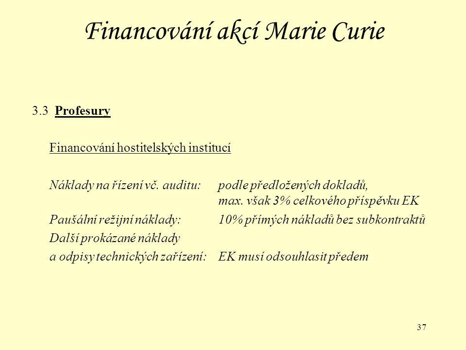 37 Financování akcí Marie Curie 3.3 Profesury Financování hostitelských institucí Náklady na řízení vč.