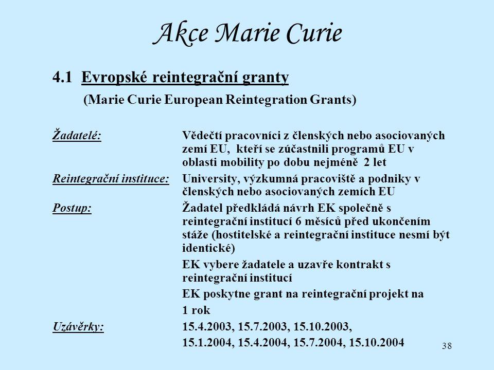 38 Akce Marie Curie 4.1 Evropské reintegrační granty (Marie Curie European Reintegration Grants) Žadatelé:Vědečtí pracovníci z členských nebo asociovaných zemí EU, kteří se zúčastnili programů EU v oblasti mobility po dobu nejméně 2 let Reintegrační instituce:University, výzkumná pracoviště a podniky v členských nebo asociovaných zemích EU Postup:Žadatel předkládá návrh EK společně s reintegrační institucí 6 měsíců před ukončením stáže (hostitelské a reintegrační instituce nesmí být identické) EK vybere žadatele a uzavře kontrakt s reintegrační institucí EK poskytne grant na reintegrační projekt na 1 rok Uzávěrky:15.4.2003, 15.7.2003, 15.10.2003, 15.1.2004, 15.4.2004, 15.7.2004, 15.10.2004