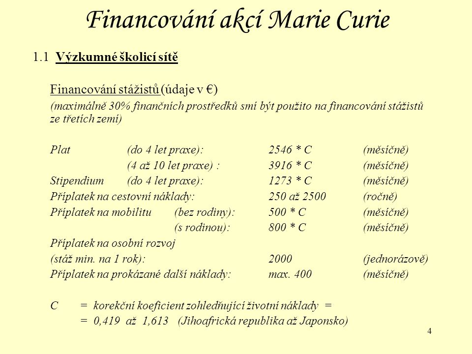 25 Financování akcí Marie Curie 2.2 Stáže ve třetích zemích pro evropské vědecké pracovníky Financování stážistů – 2.fáze (údaje v €) Plat (4 až 10 let praxe):3916 * C(měsíčně) (nad 10 let praxe):5875 * C (měsíčně) Příplatek na cestovní náklady:250 až 2500 (ročně) Příplatek na mobilitu #(bez rodiny):500 * C (měsíčně) (s rodinou):800 * C (měsíčně) Paušální příplatek na další náklady (školení vyžadující laboratoře):750(měsíčně) (školení nevyžadující laboratoře):500(měsíčně) # Příspěvek na mobilitu se nevyplácí v zemi trvalého pobytu vědeckého pracovníka