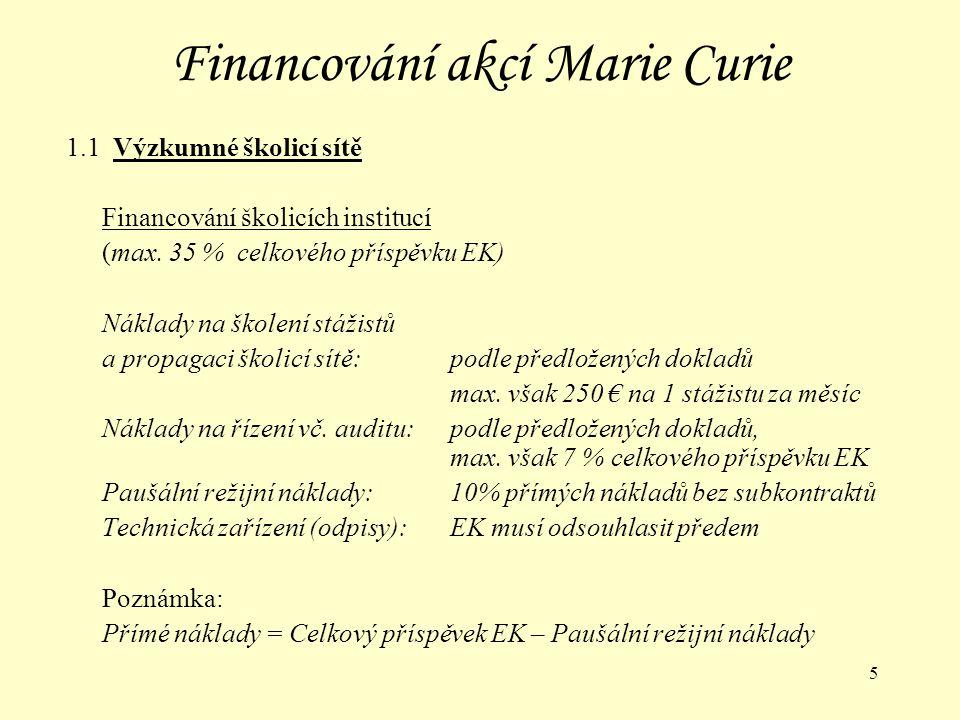 6 Financování akcí Marie Curie 1.1 Výzkumné školicí sítě - PŘÍKLAD Jeden stážista (bez rodiny, do 4 let praxe) 12 měsíců v České republice, 1500-2500 km od svého pracoviště, korekční koeficient pro ČR = 0,92 ----------------------------------------------------------------------------------------------- Financování stážistů 1.Plat2546 x 12 x 0,92=28 108 € 2.Cestovní náklady= 1 000 € 3.Mobilita500 x 12 x 0,92= 5 520 € 4.Osobní rozvoj= 2 000 € 5.Další náklady400 x 12 = 4 800 € Financování školicích institucí 6.Školení a propagace250 x 12= 3 000 € 7.Řízení= 4 000 € 8.Paušální režie= 5 767 € 9.Technické zařízení= 9 250 € ---------------------------------------------------------------------------------------------------- Přímé náklady =57 678 €Celkový příspěvek EK =63 445 €