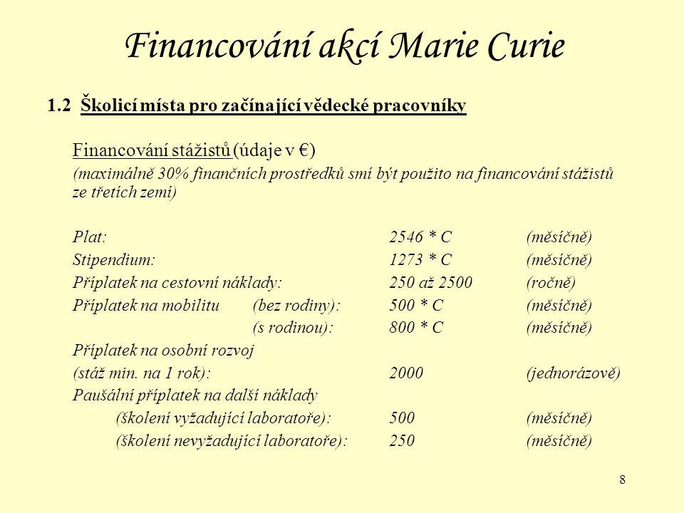 9 Financování akcí Marie Curie 1.2 Školicí místa pro začínající vědecké pracovníky Financování školicích institucí Náklady na školení stážistů a propagaci školicího místa:podle předložených dokladů, max.