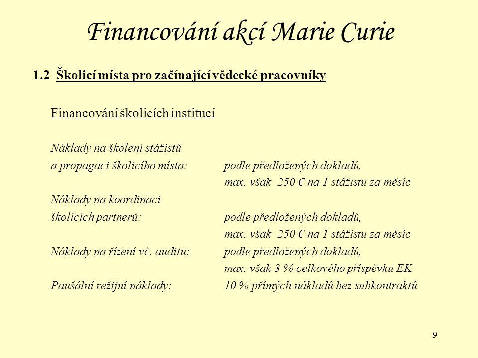 30 Akce Marie Curie 3.1 Granty pro vynikající vědecké týmy (Marie Curie Excellence Grants) Žadatelé:Vedoucí týmu může být z jakékoliv země, výzkumný tým musí pracovat v hostitelské instituci v členské nebo asociované zemi EU Členové týmu:Mohou být z jakékoliv země, financování členů týmu ze třetích zemí je omezeno Postup:Vedoucí týmu předkládá návrh EK (pracovní program na 4 roky) společně s hostitelskou institucí EK vybere návrh a uzavře kontrakt s hostitelskou institucí Vedoucí týmu si vybere spolupracovníky a celý tým uzavře smlouvu s hostitelskou institucí Uzávěrky:20.5.2003, 18.5.2004