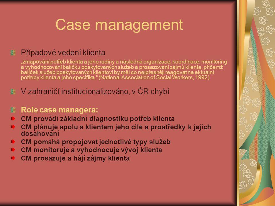 """Case management Případové vedení klienta """"zmapování potřeb klienta a jeho rodiny a následná organizace, koordinace, monitoring a vyhodnocování balíčku"""