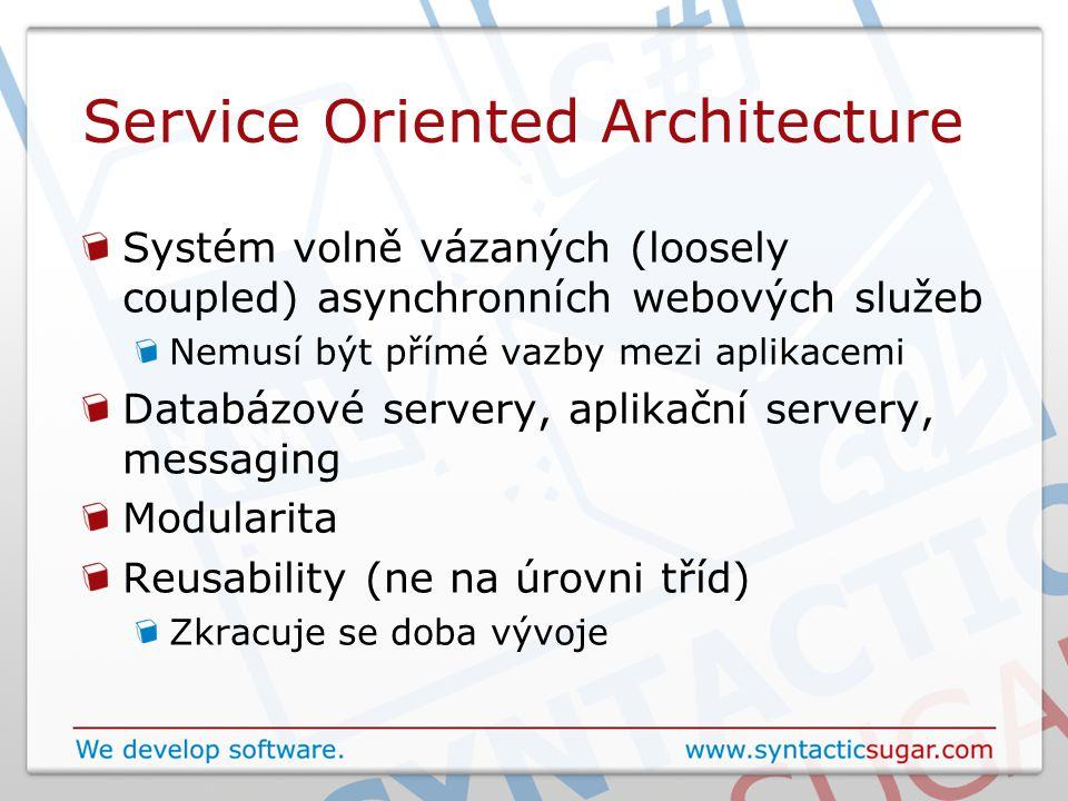 Service Oriented Architecture Systém volně vázaných (loosely coupled) asynchronních webových služeb Nemusí být přímé vazby mezi aplikacemi Databázové