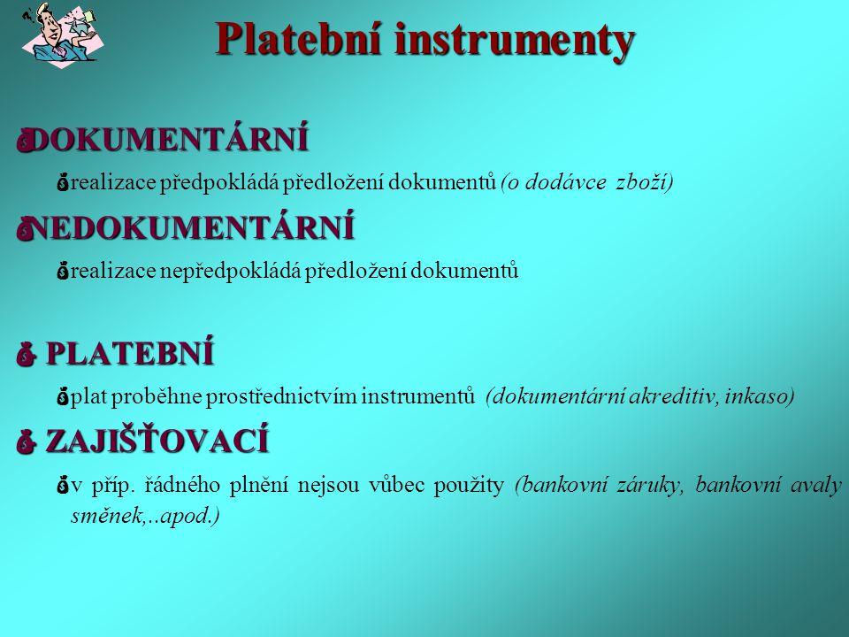 Dokumentární akreditiv Závazkový platební instrument.