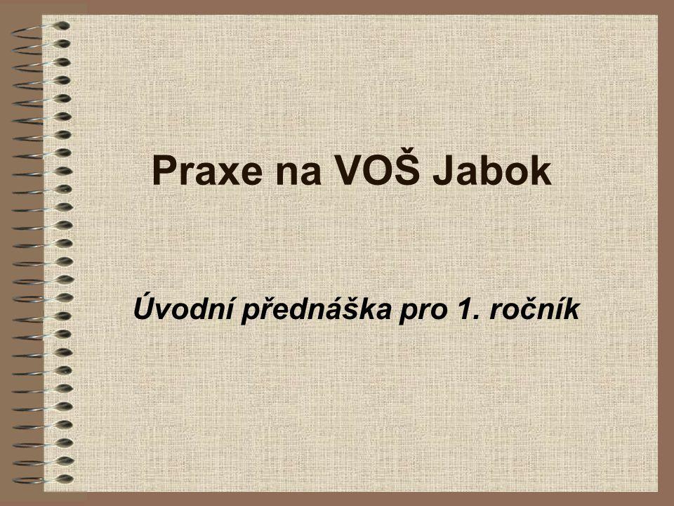 Praxe na VOŠ Jabok Úvodní přednáška pro 1. ročník