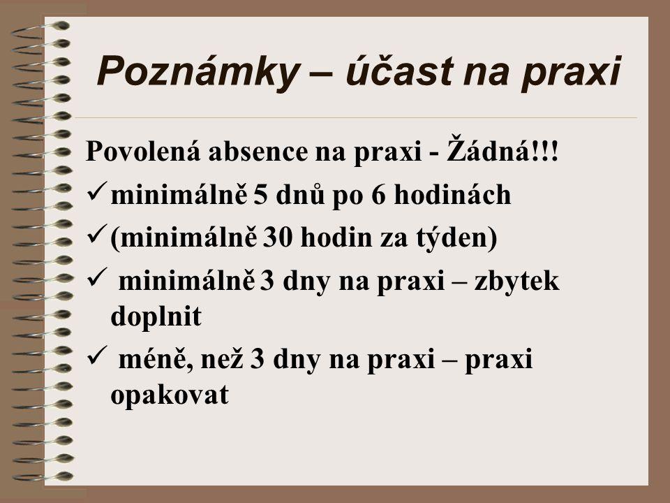 Poznámky – účast na praxi Povolená absence na praxi - Žádná!!.