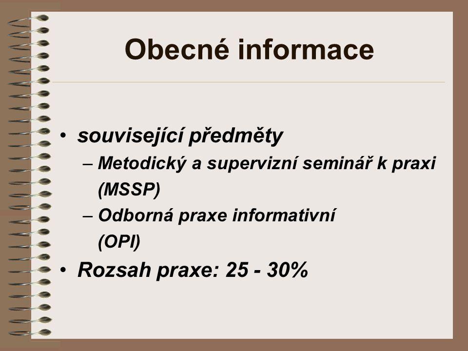 Obecné informace související předměty –Metodický a supervizní seminář k praxi (MSSP) –Odborná praxe informativní (OPI) Rozsah praxe: 25 - 30%