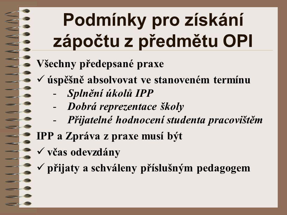 Podmínky pro získání zápočtu z předmětu OPI Všechny předepsané praxe úspěšně absolvovat ve stanoveném termínu - Splnění úkolů IPP - Dobrá reprezentace školy - Přijatelné hodnocení studenta pracovištěm IPP a Zpráva z praxe musí být včas odevzdány přijaty a schváleny příslušným pedagogem
