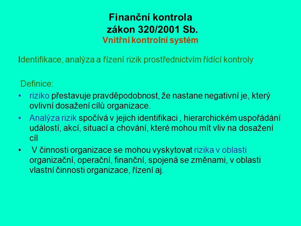 Finanční kontrola zákon 320/2001 Sb. Vnitřní kontrolní systém Identifikace, analýza a řízení rizik prostřednictvím řídící kontroly Definice: riziko př