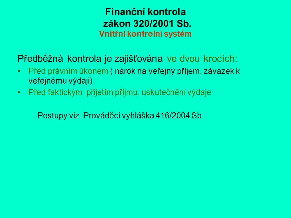 Finanční kontrola zákon 320/2001 Sb. Vnitřní kontrolní systém Předběžná kontrola je zajišťována ve dvou krocích: Před právním úkonem ( nárok na veřejn