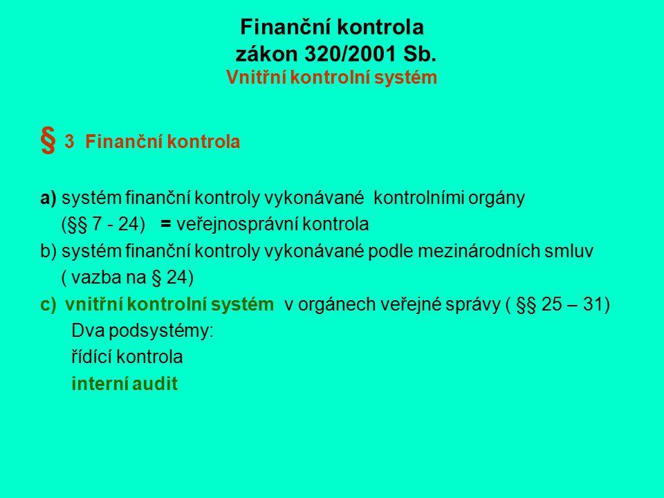 Finanční kontrola zákon 320/2001 Sb. Vnitřní kontrolní systém § 3 Finanční kontrola a) systém finanční kontroly vykonávané kontrolními orgány (§§ 7 -