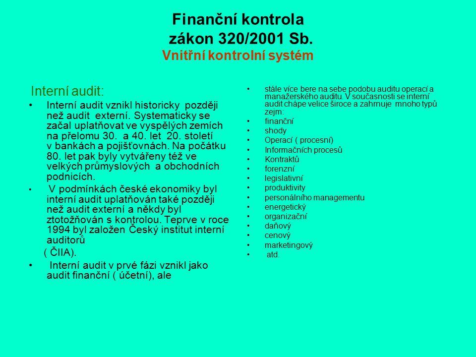 Finanční kontrola zákon 320/2001 Sb. Vnitřní kontrolní systém Interní audit: Interní audit vznikl historicky později než audit externí. Systematicky s