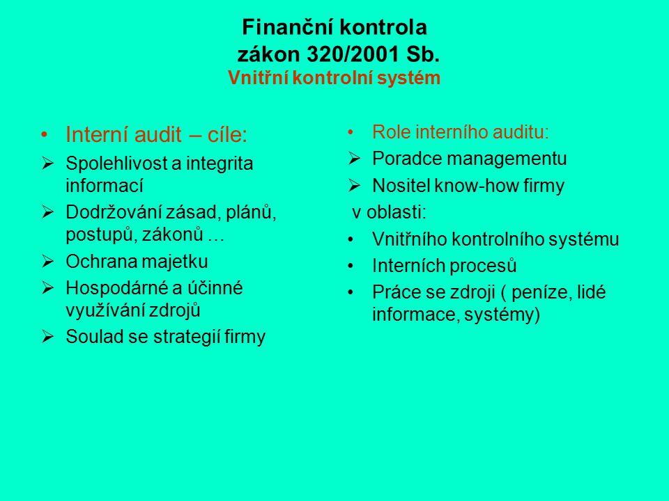Finanční kontrola zákon 320/2001 Sb. Vnitřní kontrolní systém Interní audit – cíle:  Spolehlivost a integrita informací  Dodržování zásad, plánů, po