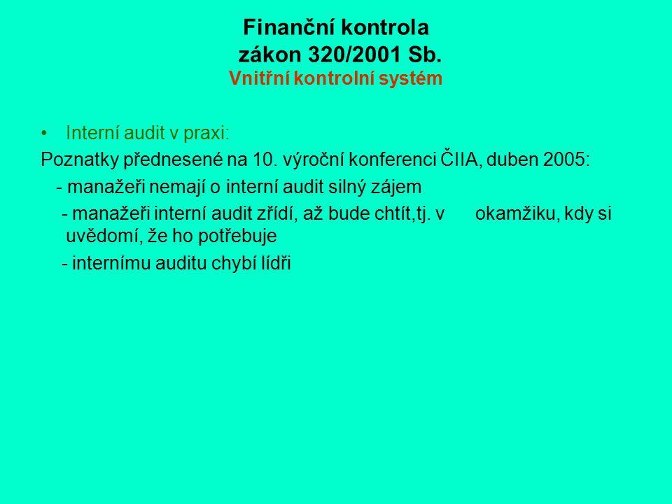 Finanční kontrola zákon 320/2001 Sb. Vnitřní kontrolní systém Interní audit v praxi: Poznatky přednesené na 10. výroční konferenci ČIIA, duben 2005: -
