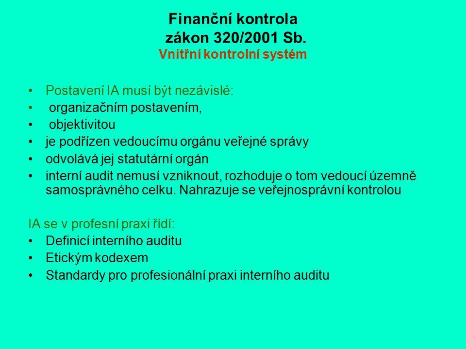 Finanční kontrola zákon 320/2001 Sb. Vnitřní kontrolní systém Postavení IA musí být nezávislé: organizačním postavením, objektivitou je podřízen vedou