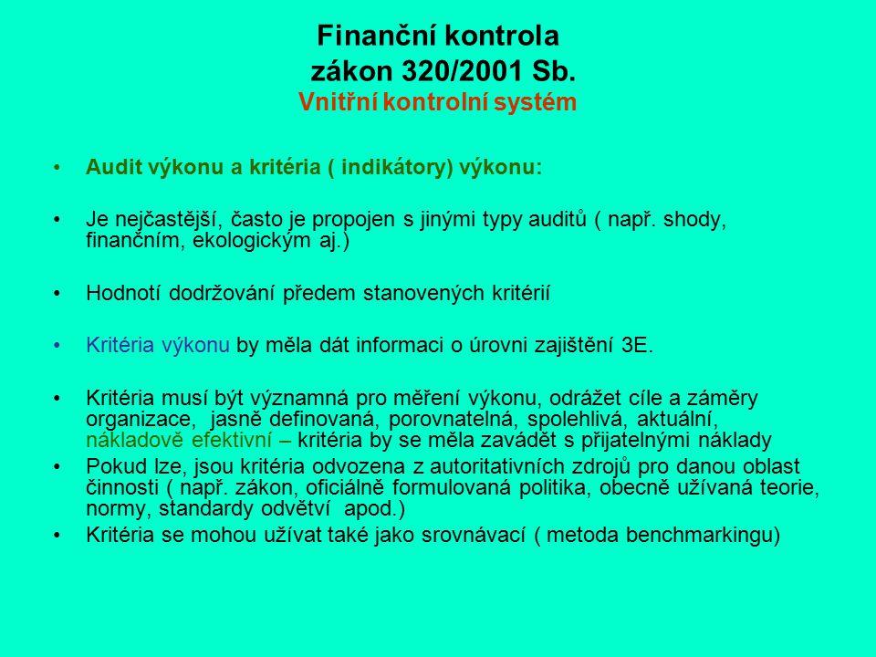 Finanční kontrola zákon 320/2001 Sb. Vnitřní kontrolní systém Audit výkonu a kritéria ( indikátory) výkonu: Je nejčastější, často je propojen s jinými