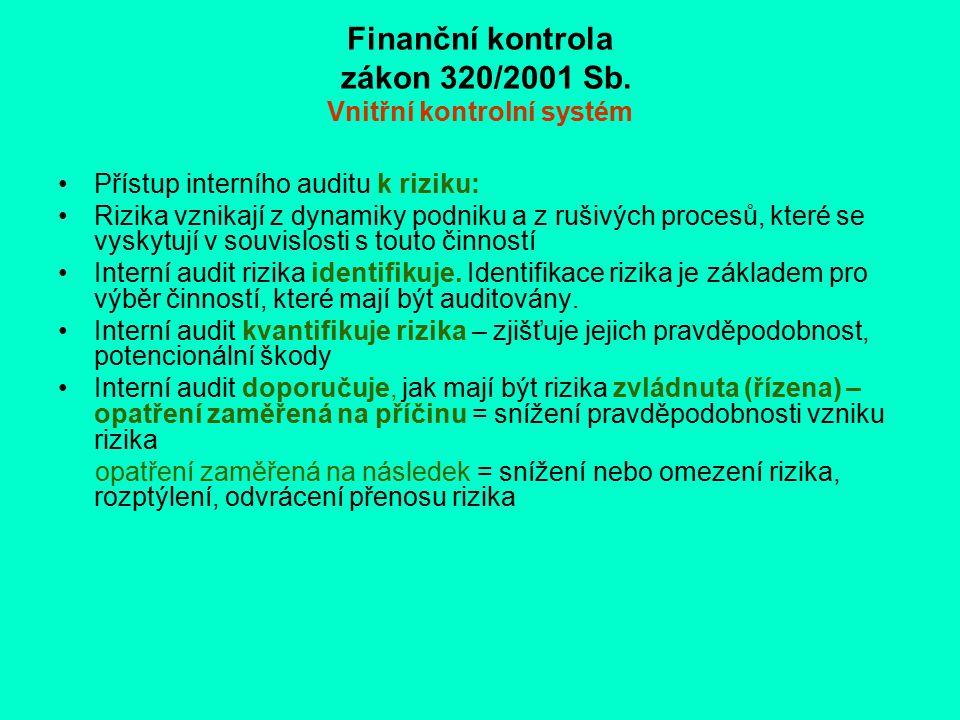 Finanční kontrola zákon 320/2001 Sb. Vnitřní kontrolní systém Přístup interního auditu k riziku: Rizika vznikají z dynamiky podniku a z rušivých proce
