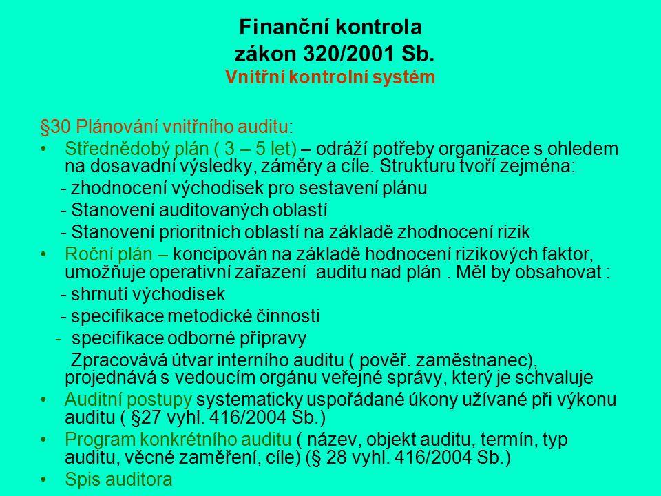 Finanční kontrola zákon 320/2001 Sb. Vnitřní kontrolní systém §30 Plánování vnitřního auditu: Střednědobý plán ( 3 – 5 let) – odráží potřeby organizac