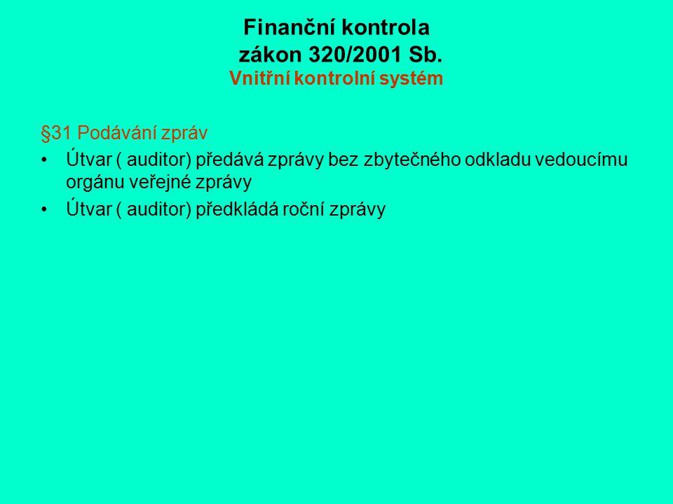 Finanční kontrola zákon 320/2001 Sb. Vnitřní kontrolní systém §31 Podávání zpráv Útvar ( auditor) předává zprávy bez zbytečného odkladu vedoucímu orgá