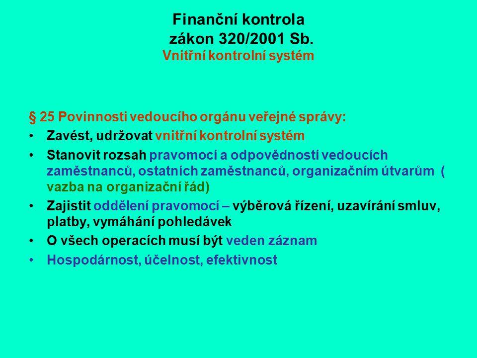 Finanční kontrola zákon 320/2001 Sb. Vnitřní kontrolní systém § 25 Povinnosti vedoucího orgánu veřejné správy: Zavést, udržovat vnitřní kontrolní syst