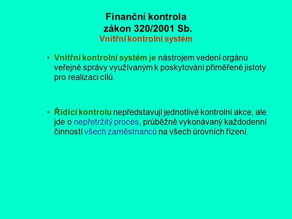 Finanční kontrola zákon 320/2001 Sb. Vnitřní kontrolní systém Vnitřní kontrolní systém je nástrojem vedení orgánu veřejné správy využívaným k poskytov