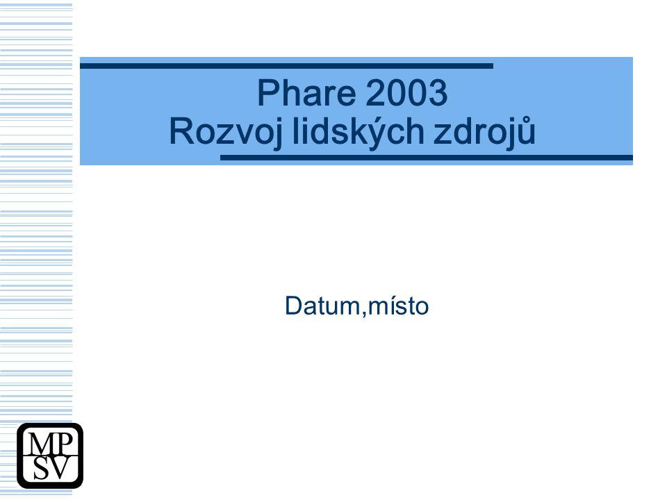Phare 2003 Rozvoj lidských zdrojů Datum,místo
