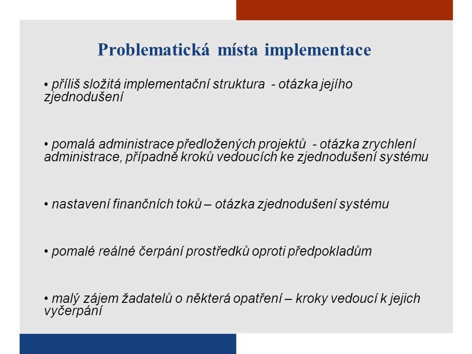 Problematická místa implementace příliš složitá implementační struktura - otázka jejího zjednodušení pomalá administrace předložených projektů - otázka zrychlení administrace, případně kroků vedoucích ke zjednodušení systému nastavení finančních toků – otázka zjednodušení systému pomalé reálné čerpání prostředků oproti předpokladům malý zájem žadatelů o některá opatření – kroky vedoucí k jejich vyčerpání