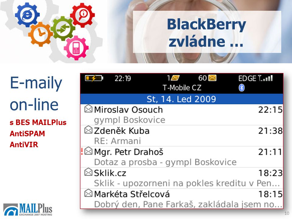 10  y on-line BlackBerry zvládne … s BES MAILPlus AntiSPAM AntiVIR