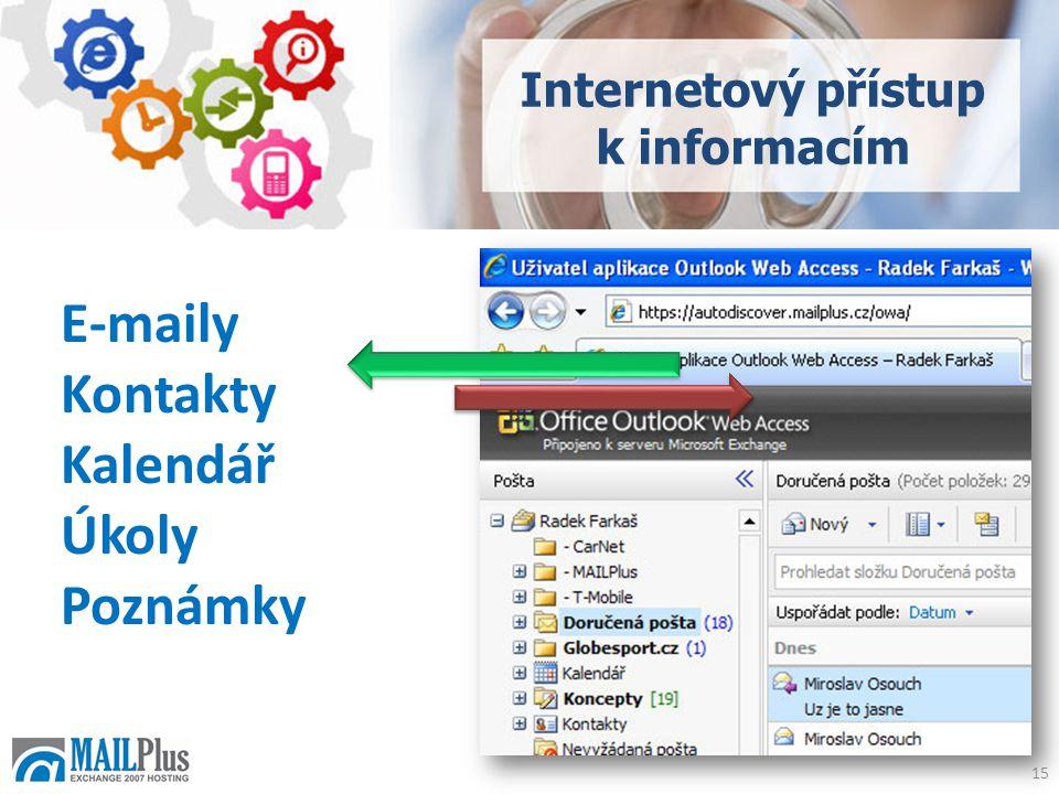 E-maily Kontakty Kalendář Úkoly Poznámky Internetový přístup k informacím 15