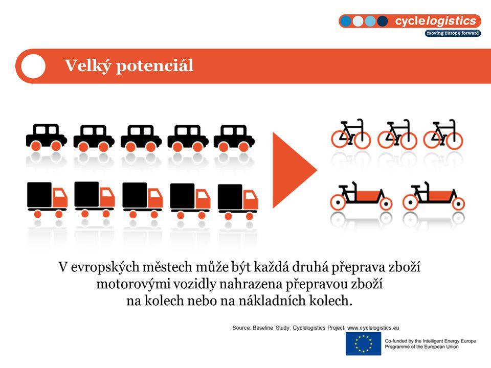 Potenciál v oblasti doručování zboží Při doručování zboží do cílové destinace může být každá čtvrtá přeprava zboží přeložena z motorového dopravního prostředku na nákladní kolo.