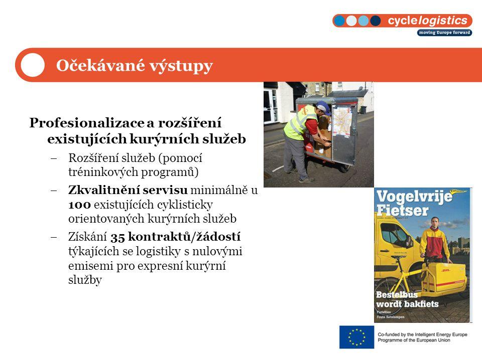 Očekávané výstupy Profesionalizace a rozšíření existujících kurýrních služeb  Rozšíření služeb (pomocí tréninkových programů)  Zkvalitnění servisu minimálně u 100 existujících cyklisticky orientovaných kurýrních služeb  Získání 35 kontraktů/žádostí týkajících se logistiky s nulovými emisemi pro expresní kurýrní služby